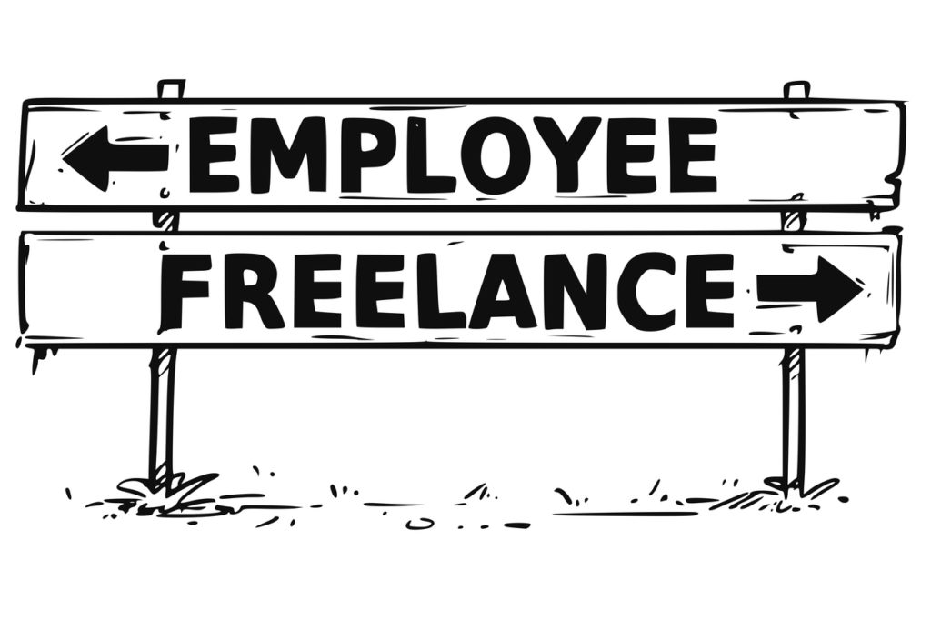Road Block Arrow Sign Drawing of Employee or Freelance Decision
